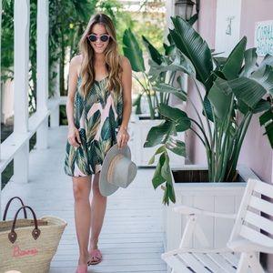 Pink and palm leaf dress